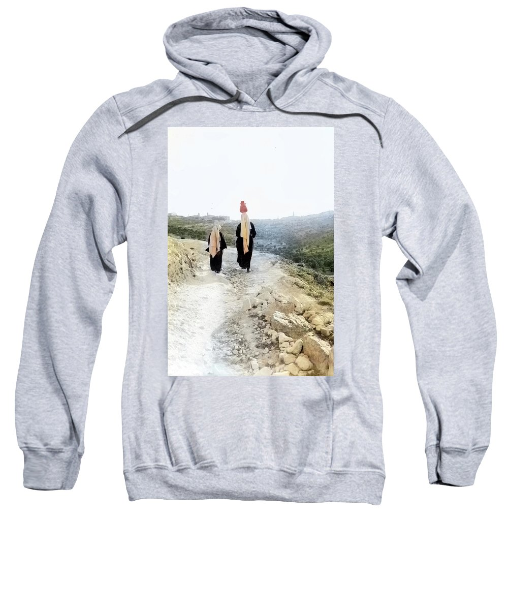 1920 Sweatshirt featuring the photograph Two Women In 1920 by Munir Alawi