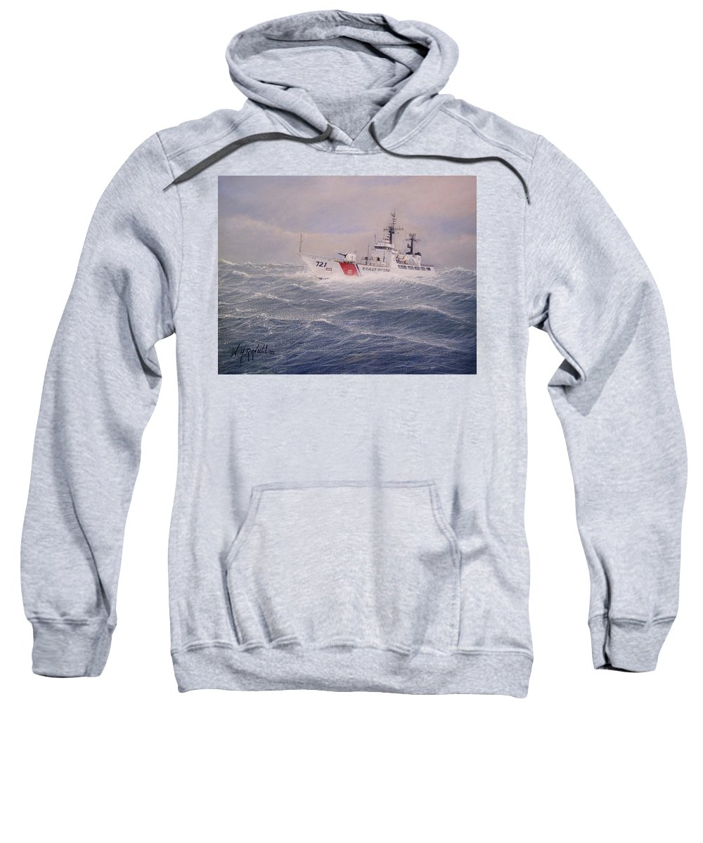 Ship Sweatshirt featuring the painting U. S. Coast Guard Cutter Gallitin by William H RaVell III
