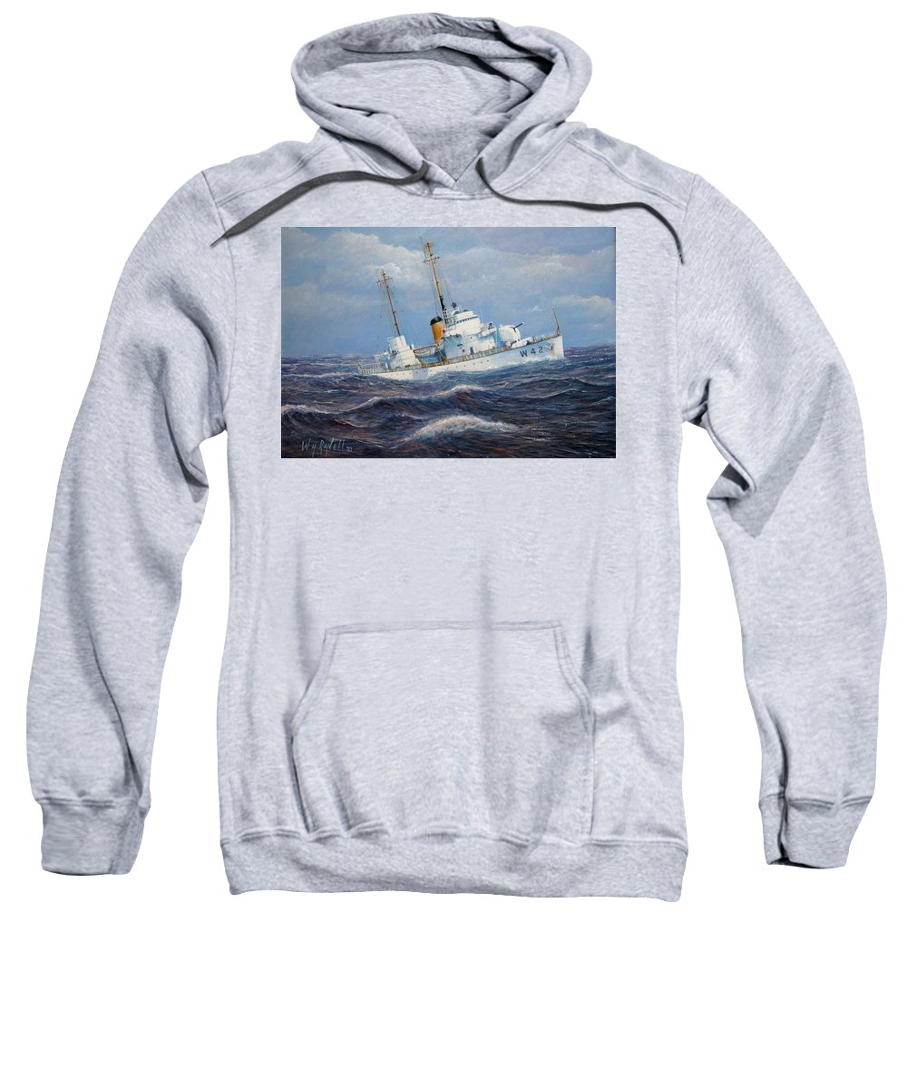 Marine Art Sweatshirt featuring the painting U. S. Coast Guard Cutter Sebago Takes a Roll by William H RaVell III