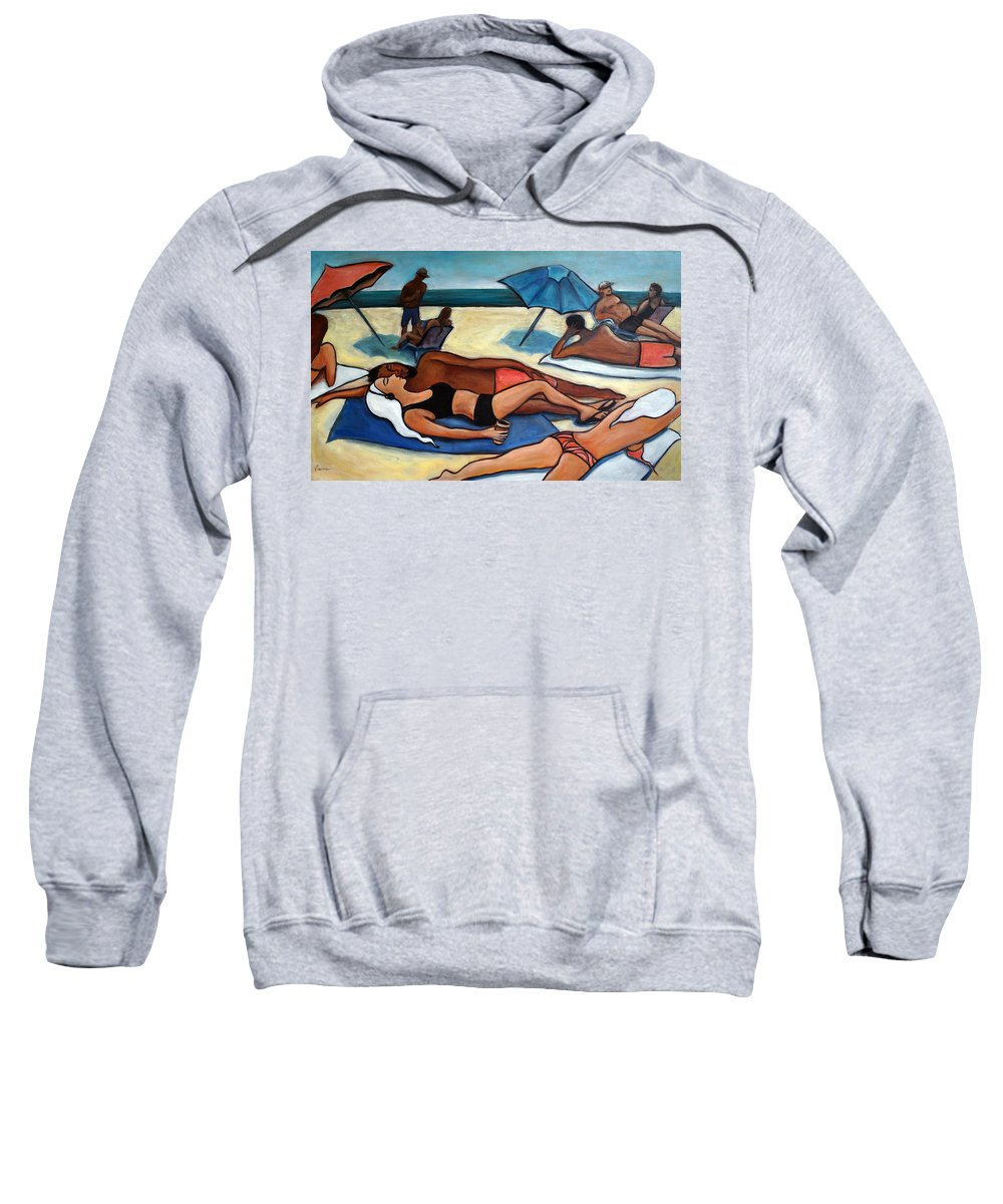 Beach Scene Sweatshirt featuring the painting Un Journee A La Plage by Valerie Vescovi