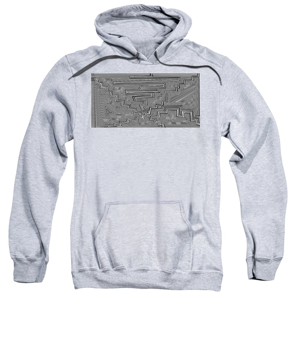 Dynamic Black And White Sweatshirt featuring the painting Uncertainty by Douglas Christian Larsen