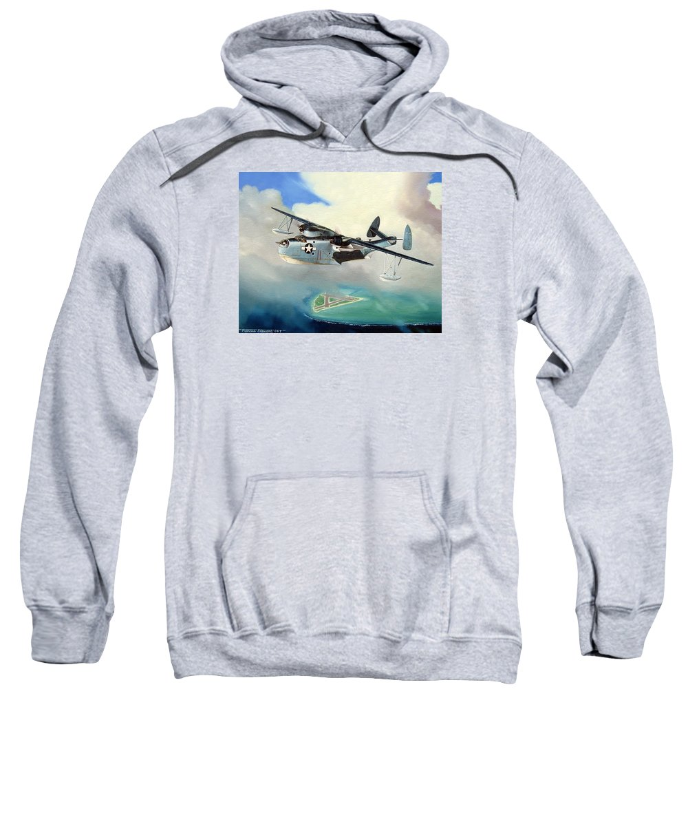Military Sweatshirt featuring the painting Uncle Bubba's Flying Boat by Marc Stewart
