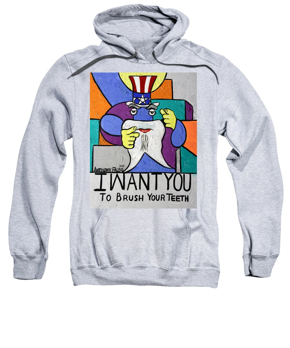 Uncle Sam Tooth Sweatshirt featuring the painting Uncle Sam Tooth by Anthony Falbo
