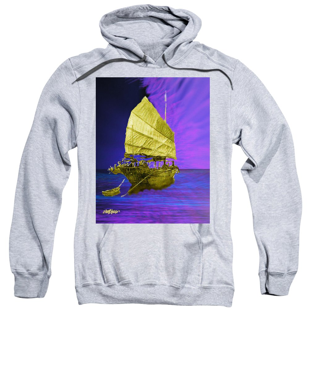 Nautical Sweatshirt featuring the digital art Under Golden Sails by Seth Weaver