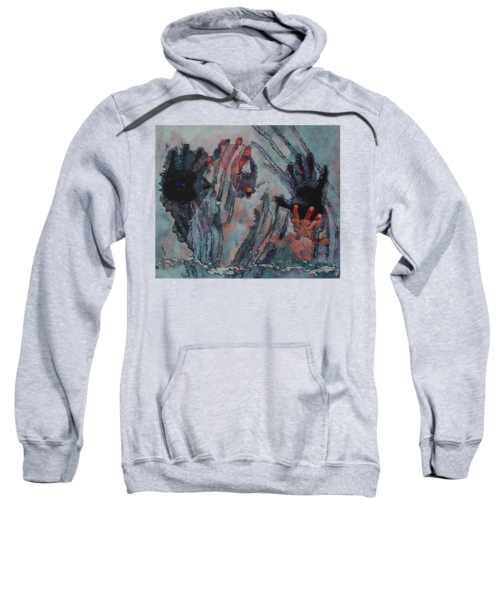 Underneath Sweatshirt featuring the painting Under Ice by Valerie Patterson