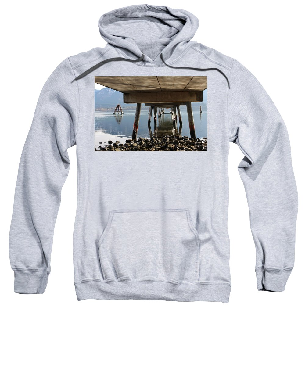 River Sweatshirt featuring the photograph Under The Pier by Jayne Borden