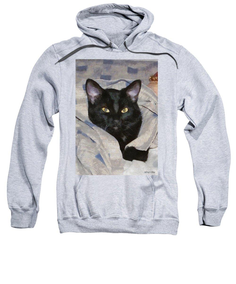Cat Sweatshirt featuring the painting Undercover Kitten by Jeffrey Kolker