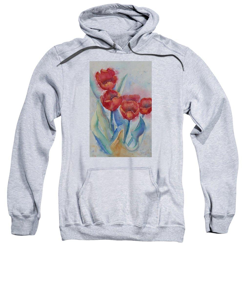 Flowers Sweatshirt featuring the painting Undersea Tulips by Ruth Kamenev