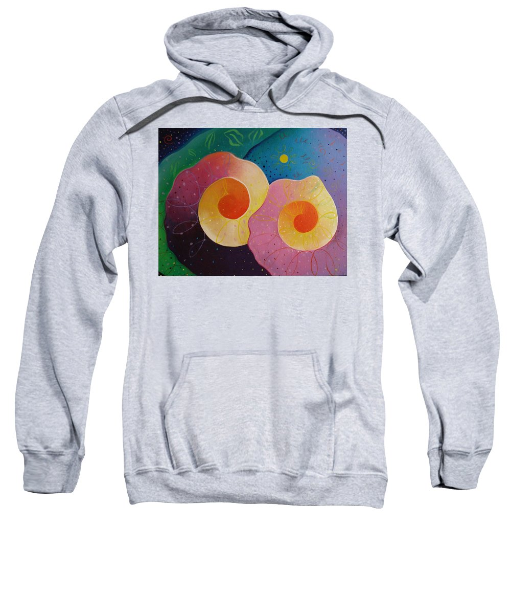 Universal Sweatshirt featuring the painting Unfolding by Helena Tiainen