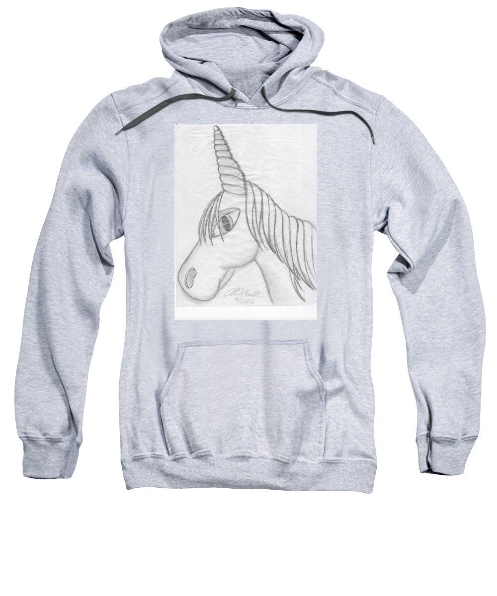 Unicorn Sweatshirt featuring the drawing Unicornlove by Lynnette Denee