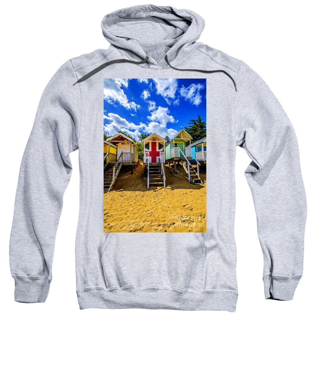 Wells-next-the-sea Sweatshirt featuring the photograph Union Jack Beach Hut 2 by Chris Thaxter
