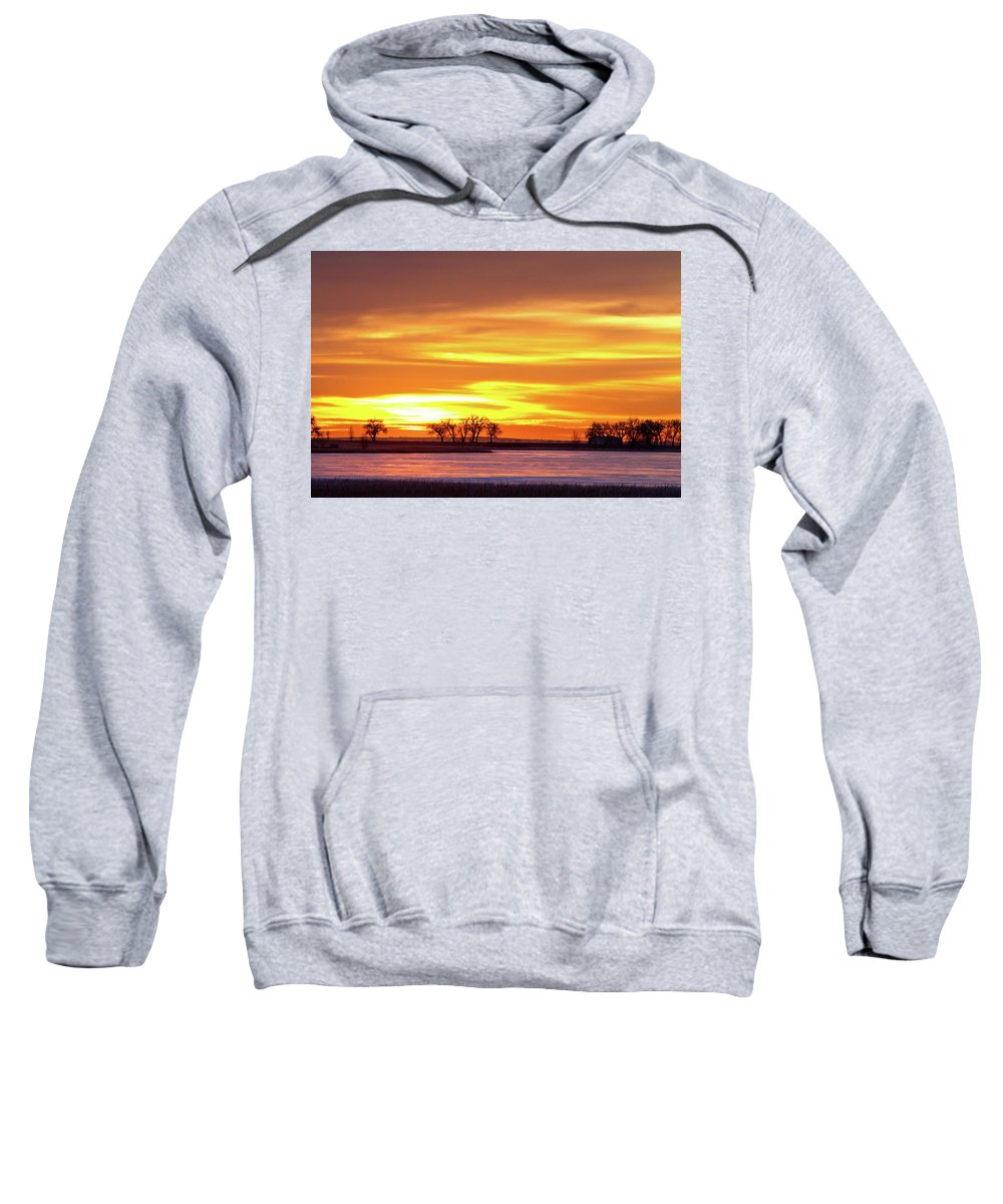 canvas Print Sweatshirt featuring the photograph Union Reservoir Sunrise Feb 17 2011 Canvas Print by James BO Insogna