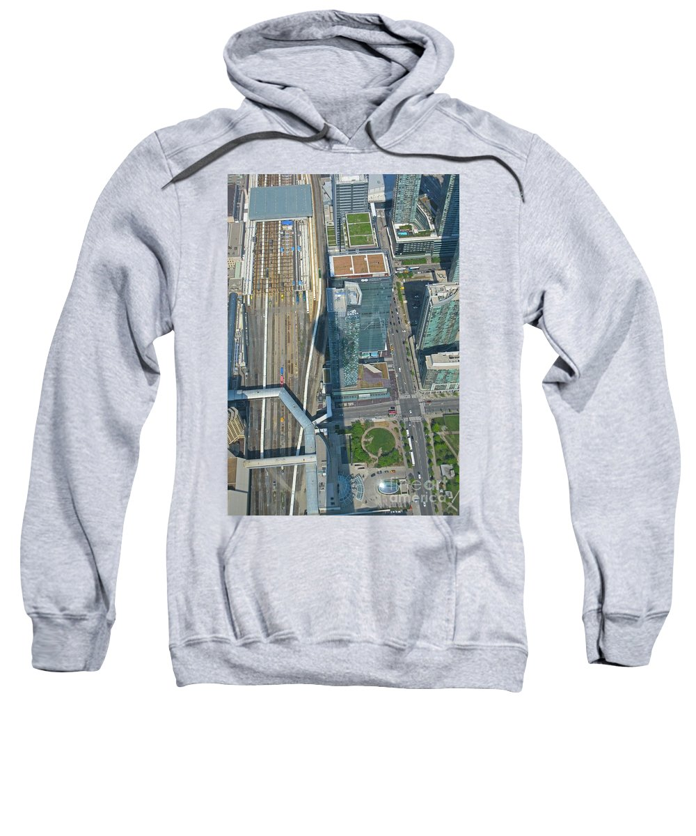 Union Station Train Yard Toronto From The Cn Tower Sweatshirt featuring the painting Union Station Train Yard Toronto From The Cn Tower by John Malone