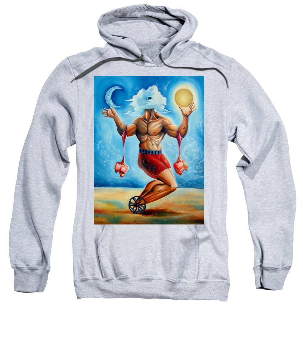 Surrealism Sweatshirt featuring the painting Universal Acrobat by Darwin Leon