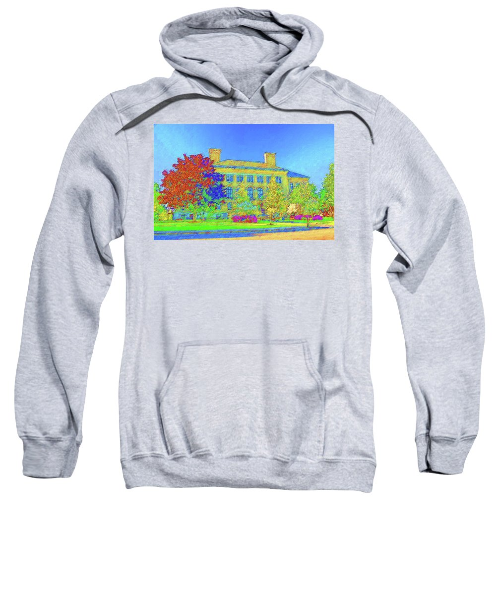 University Of Massachusetts Sweatshirt featuring the mixed media University Of Massachusetts by DJ Fessenden