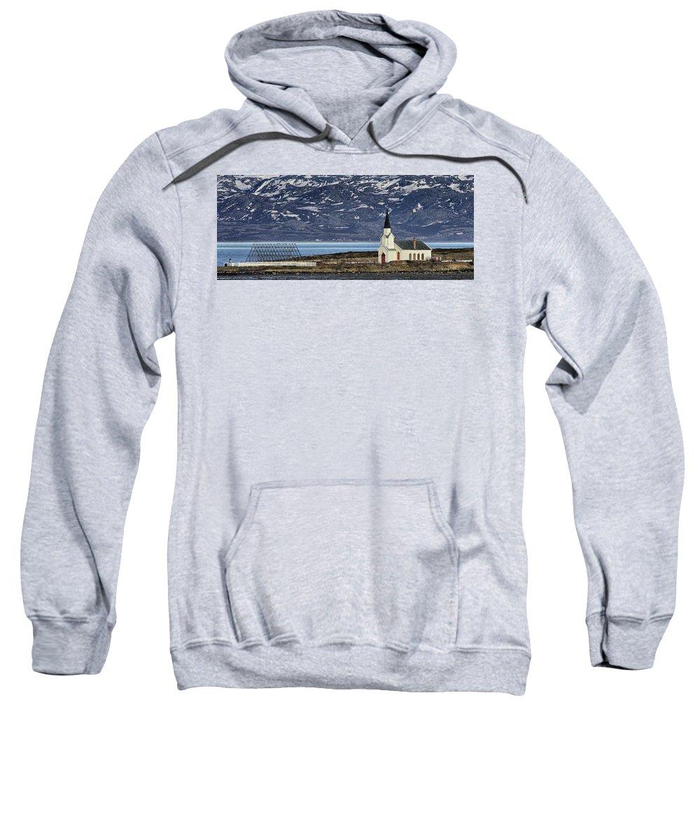 Church Sweatshirt featuring the photograph Unjarga-nesseby Church In Arctic Norway by Pekka Sammallahti