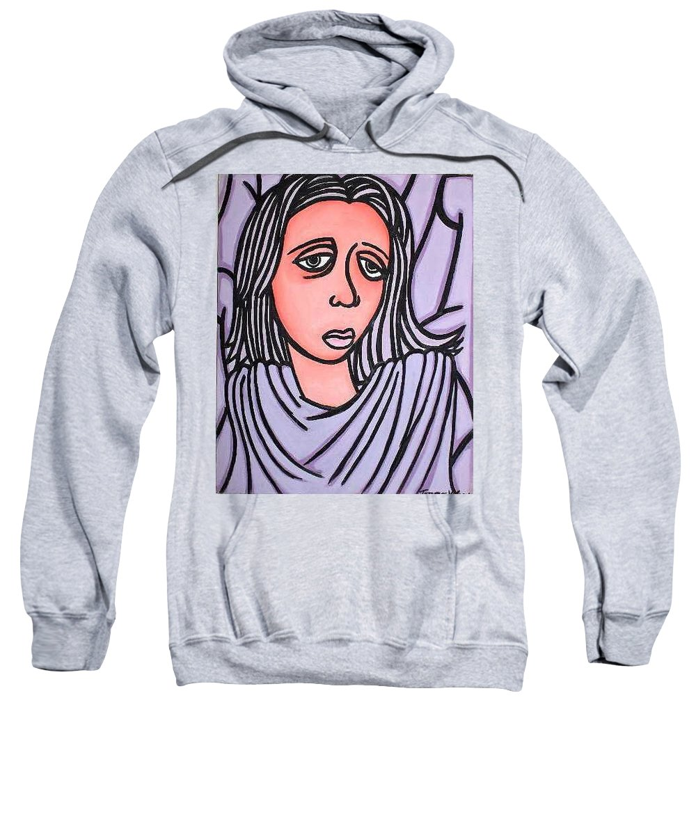 Portrait Sweatshirt featuring the painting Unknown by Thomas Valentine