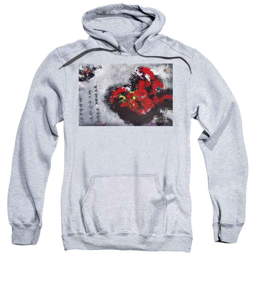 Poetry Paintings Sweatshirt featuring the painting Unread Poem Black And Red Paintings by Seon-Jeong Kim