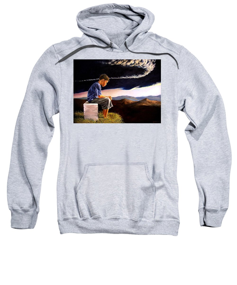 Mountain Sweatshirt featuring the painting Unscarred Mountain by Christopher Shellhammer