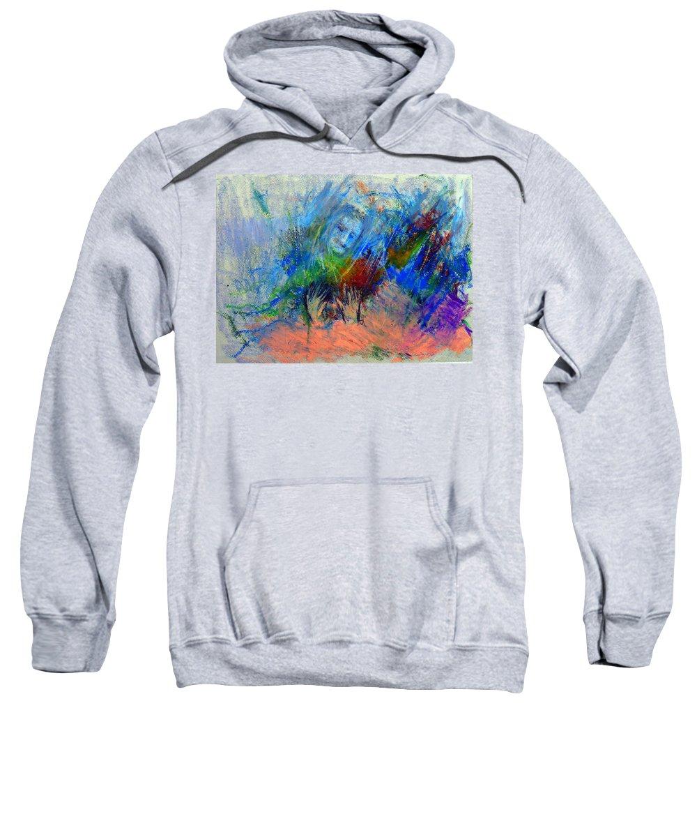 Meher Baba Sweatshirt featuring the pastel Untitled 2 by Joe DiSabatino