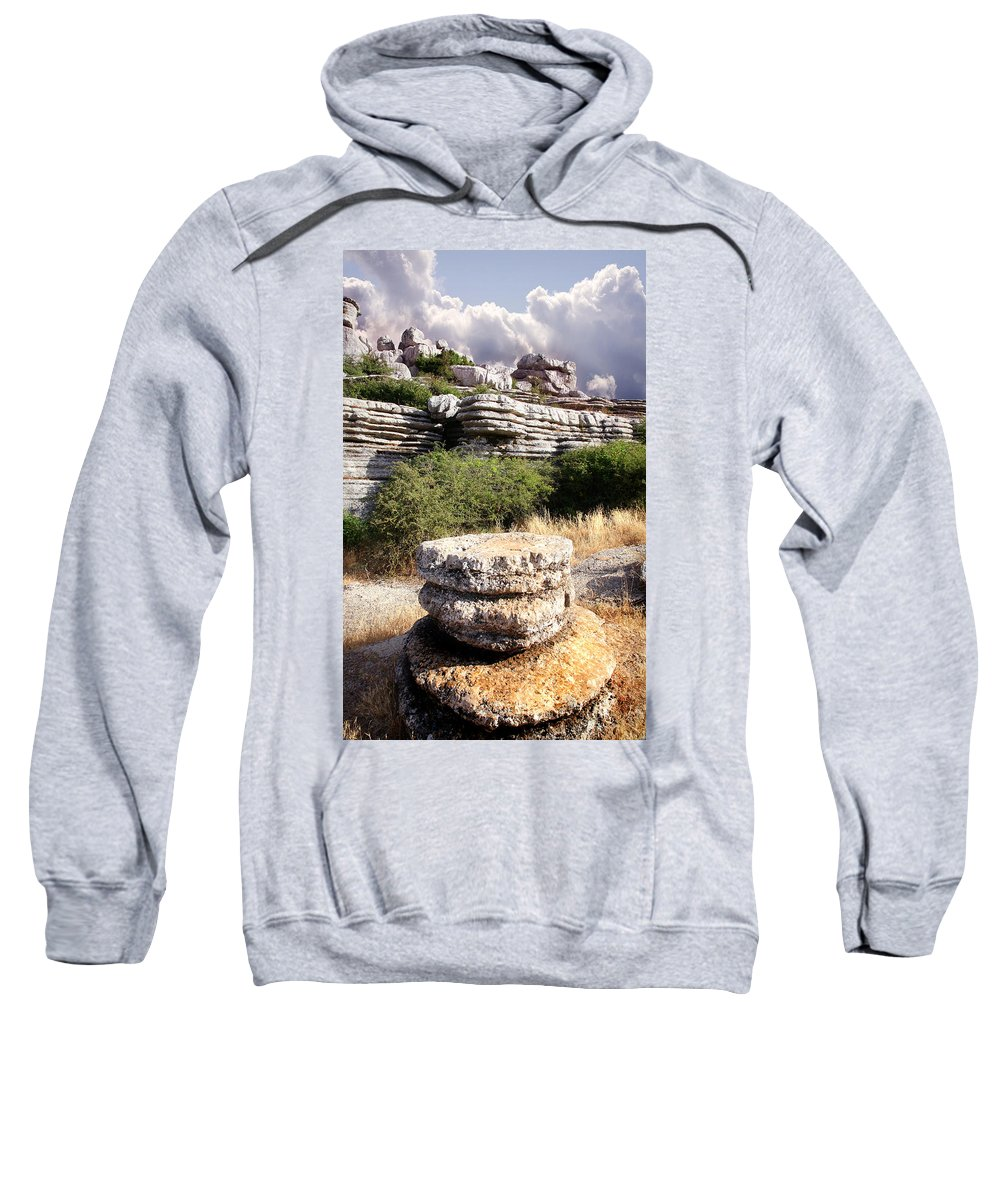 Limestone Sweatshirt featuring the photograph Unusual Rock Formations In The El Torcal Mountains Near Antequera Spain by Mal Bray