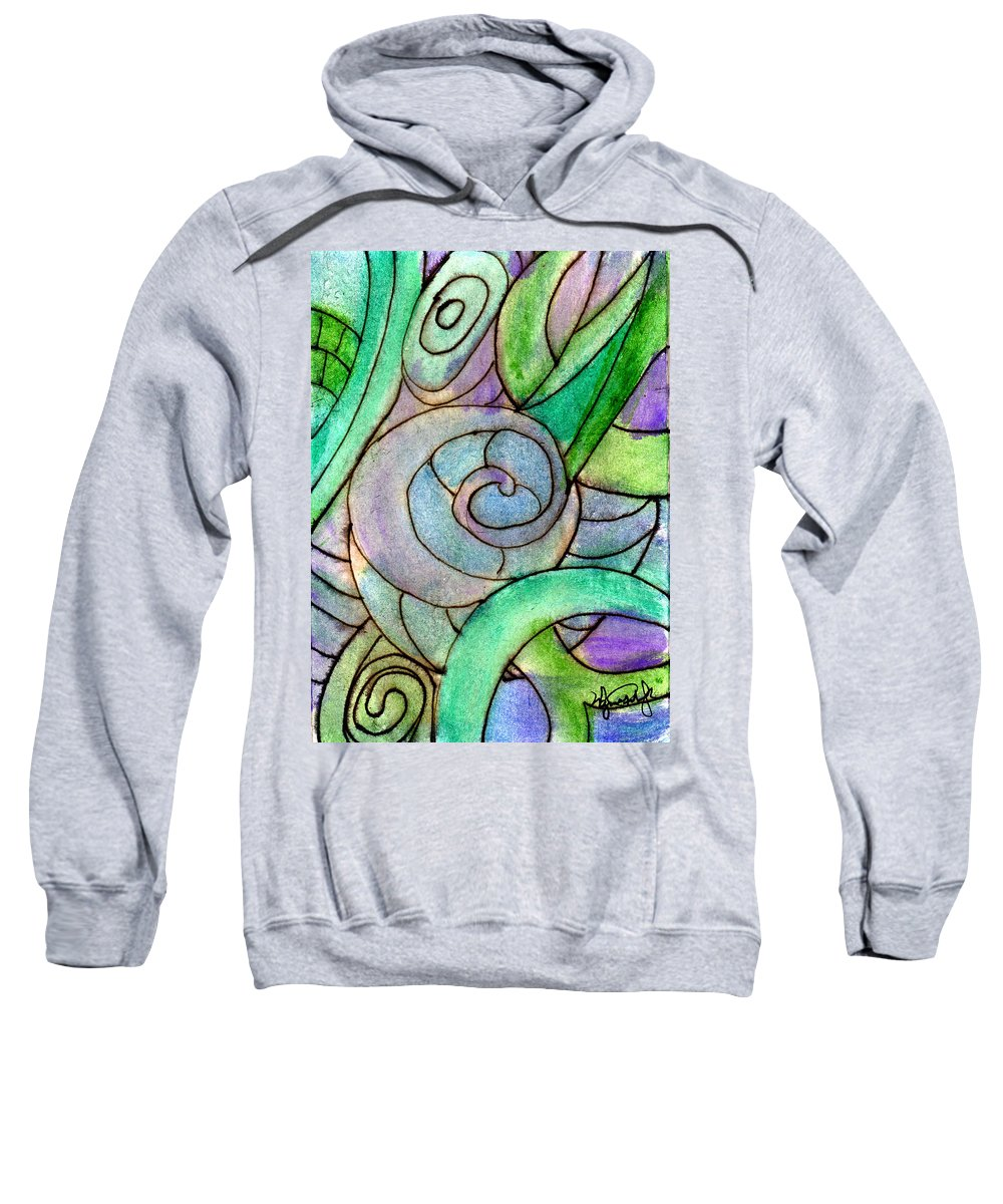 Abstract Sweatshirt featuring the painting Up Close In The Garden by Wayne Potrafka