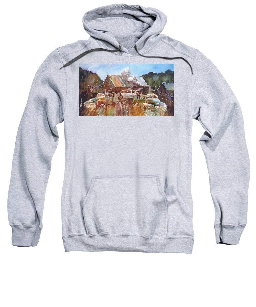Chev Plymouth House Barn Sweatshirt featuring the painting Up the Road a Bit by Ron Morrison