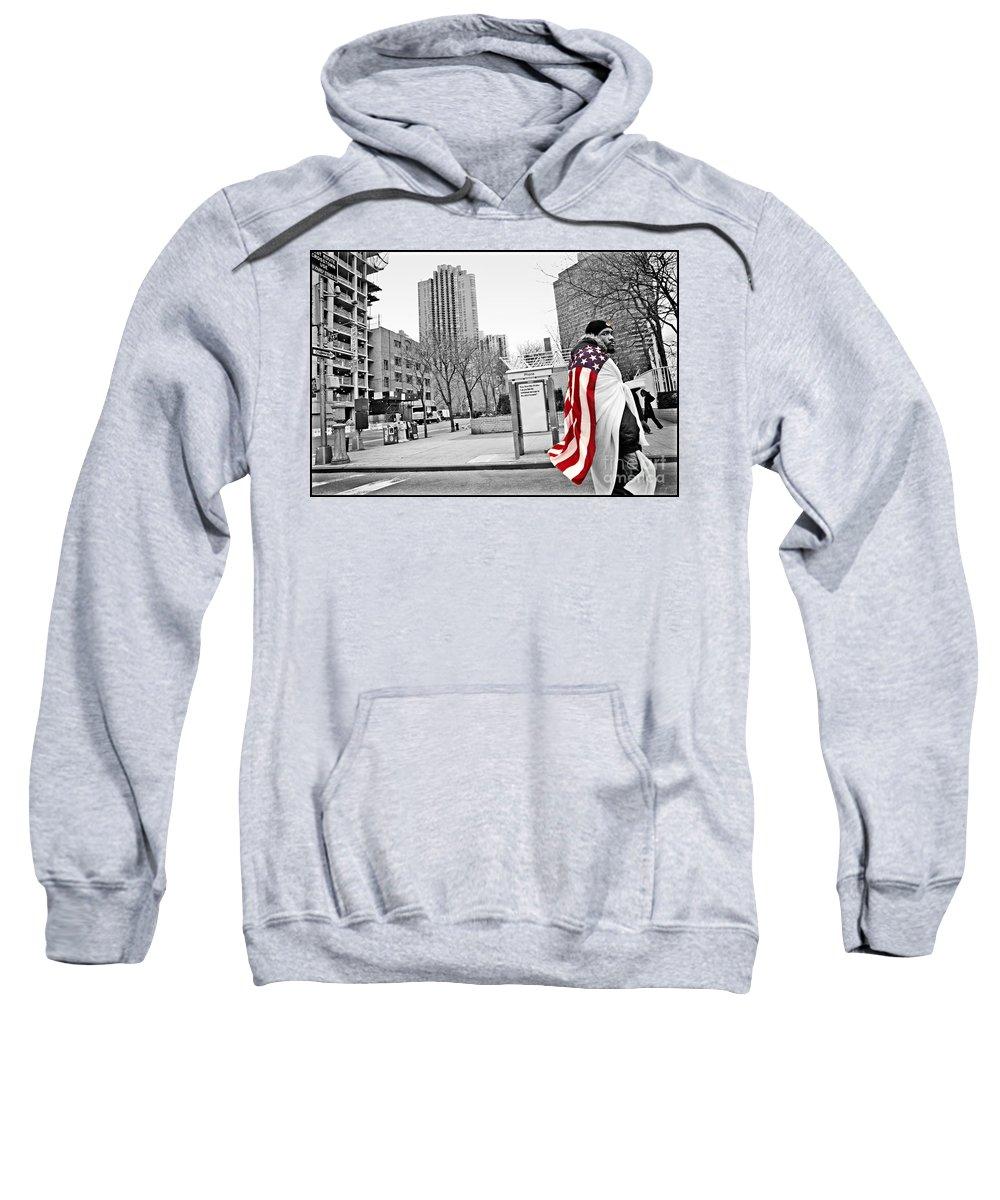 Man Sweatshirt featuring the photograph Urban Flag Man by Madeline Ellis