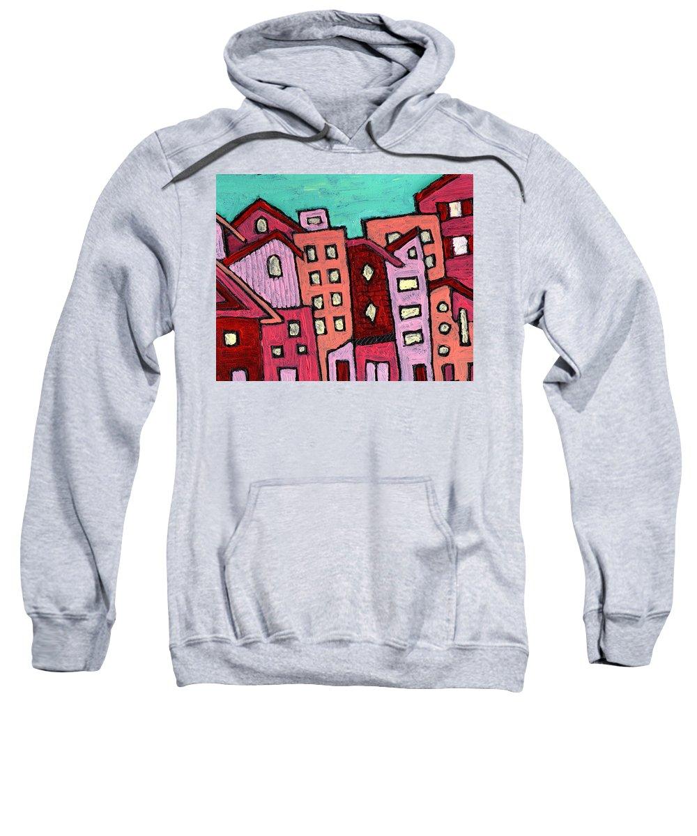 City Scene Sweatshirt featuring the painting Urban Heat by Wayne Potrafka