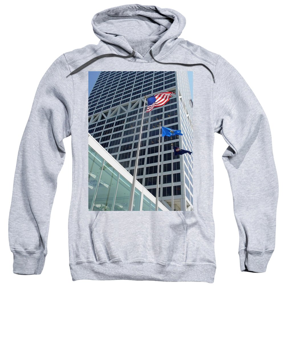 Us Bank Sweatshirt featuring the photograph Us Bank With Flags by Anita Burgermeister
