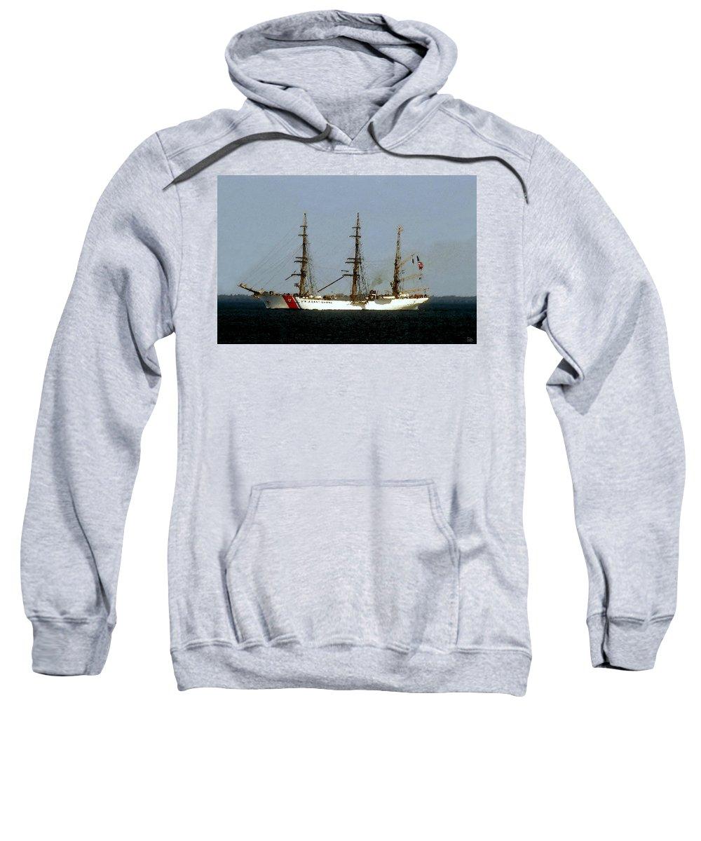 U.s. Coast Guard Sweatshirt featuring the painting U.S. Coast Guard Eagle by David Lee Thompson