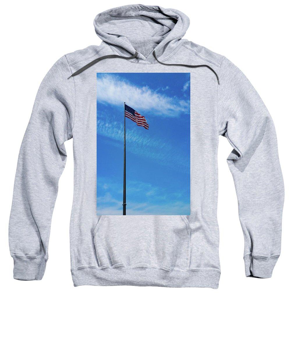 2016 Sweatshirt featuring the photograph Us Flag At Liberty Island by Srinivasan Venkatarajan