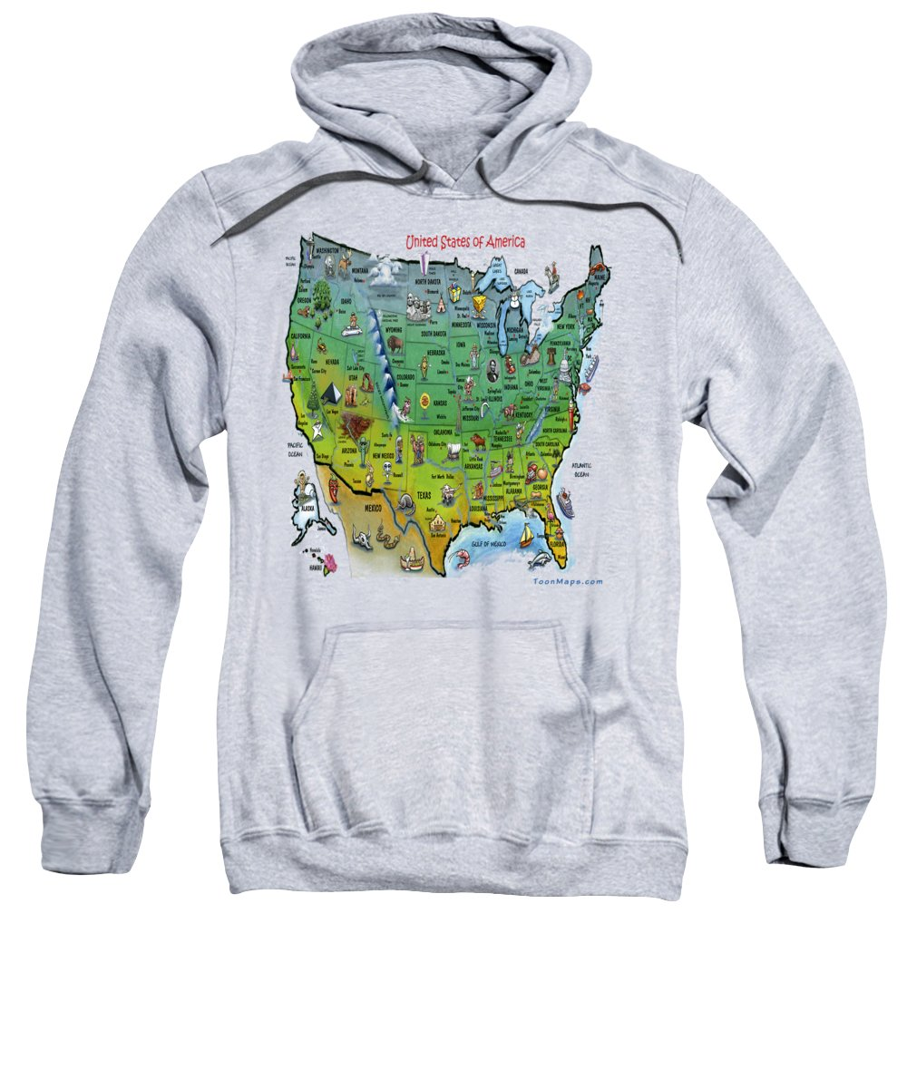 Map Sweatshirt featuring the painting Usa Cartoon Map by Kevin Middleton