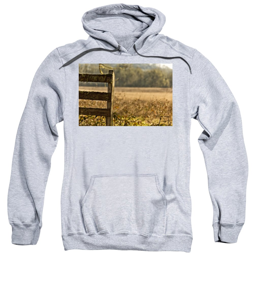 Wood Gate Sweatshirt featuring the photograph Useless Boundaries No. 2 by Belinda Greb