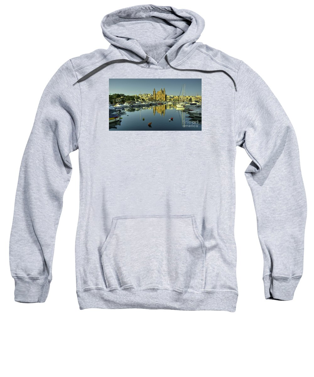 Valletta Sweatshirt featuring the photograph Valletta Reflected by Rob Hawkins