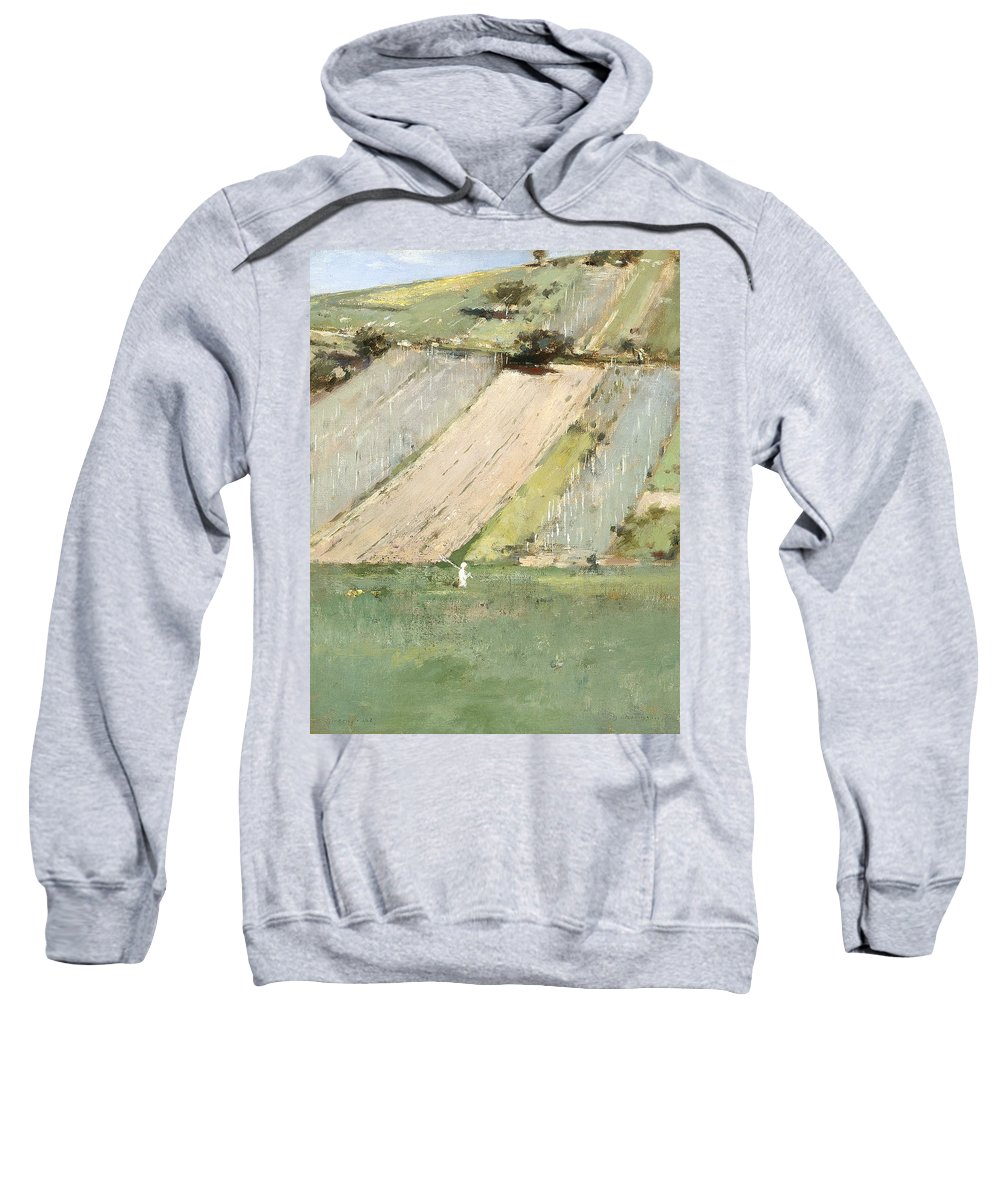 Theodore Robinson Sweatshirt featuring the painting Valley Of The Seine, Giverny by Theodore Robinson