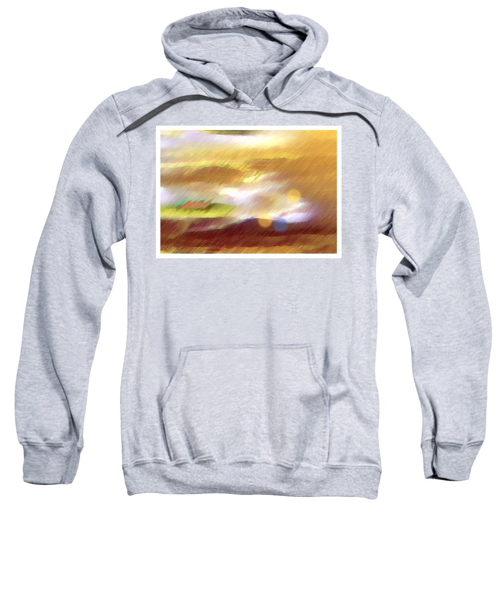 Landscape Sweatshirt featuring the painting Valleylights by Anil Nene