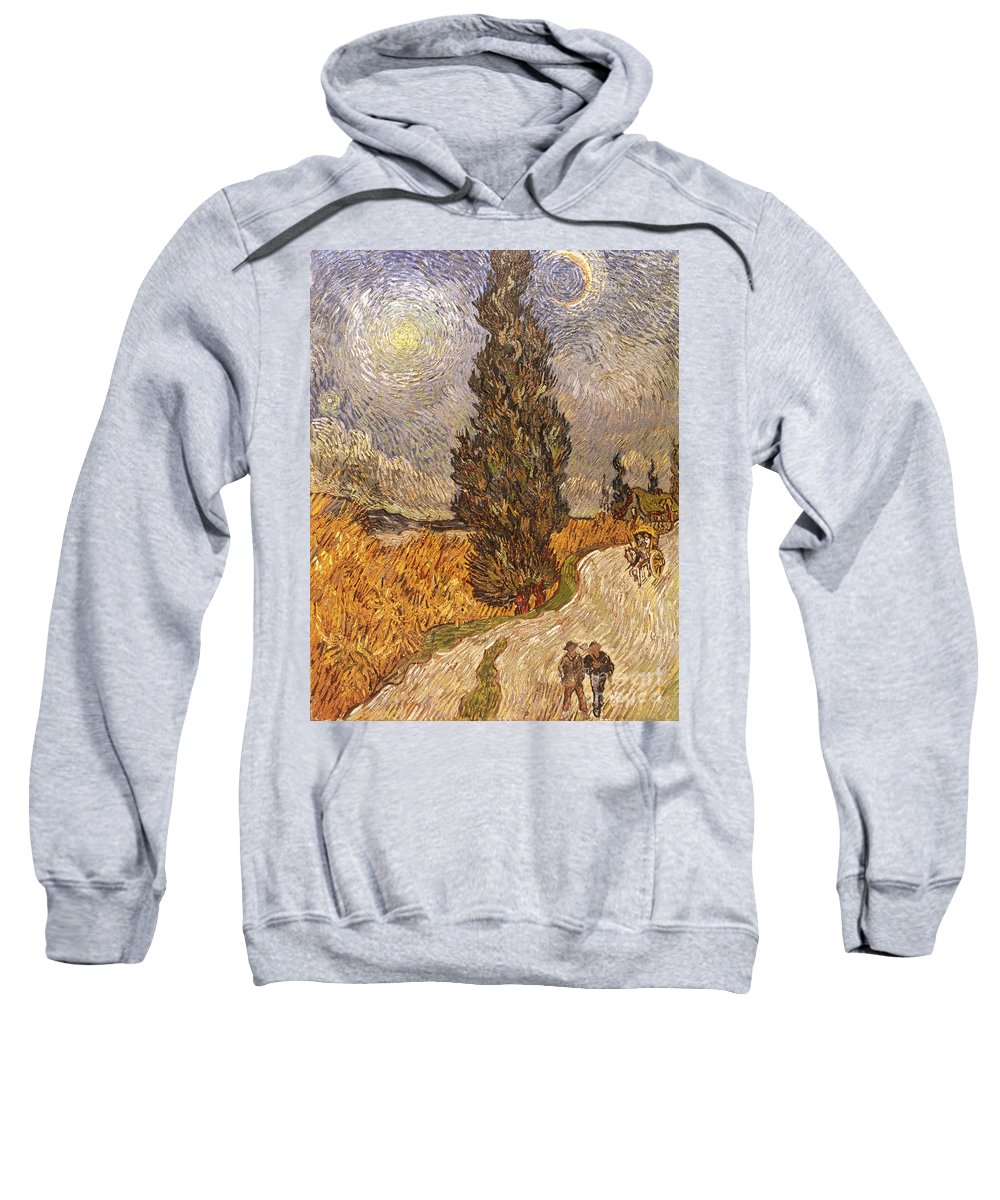 1889 Sweatshirt featuring the photograph Van Gogh: Cypresses, 1889 by Granger