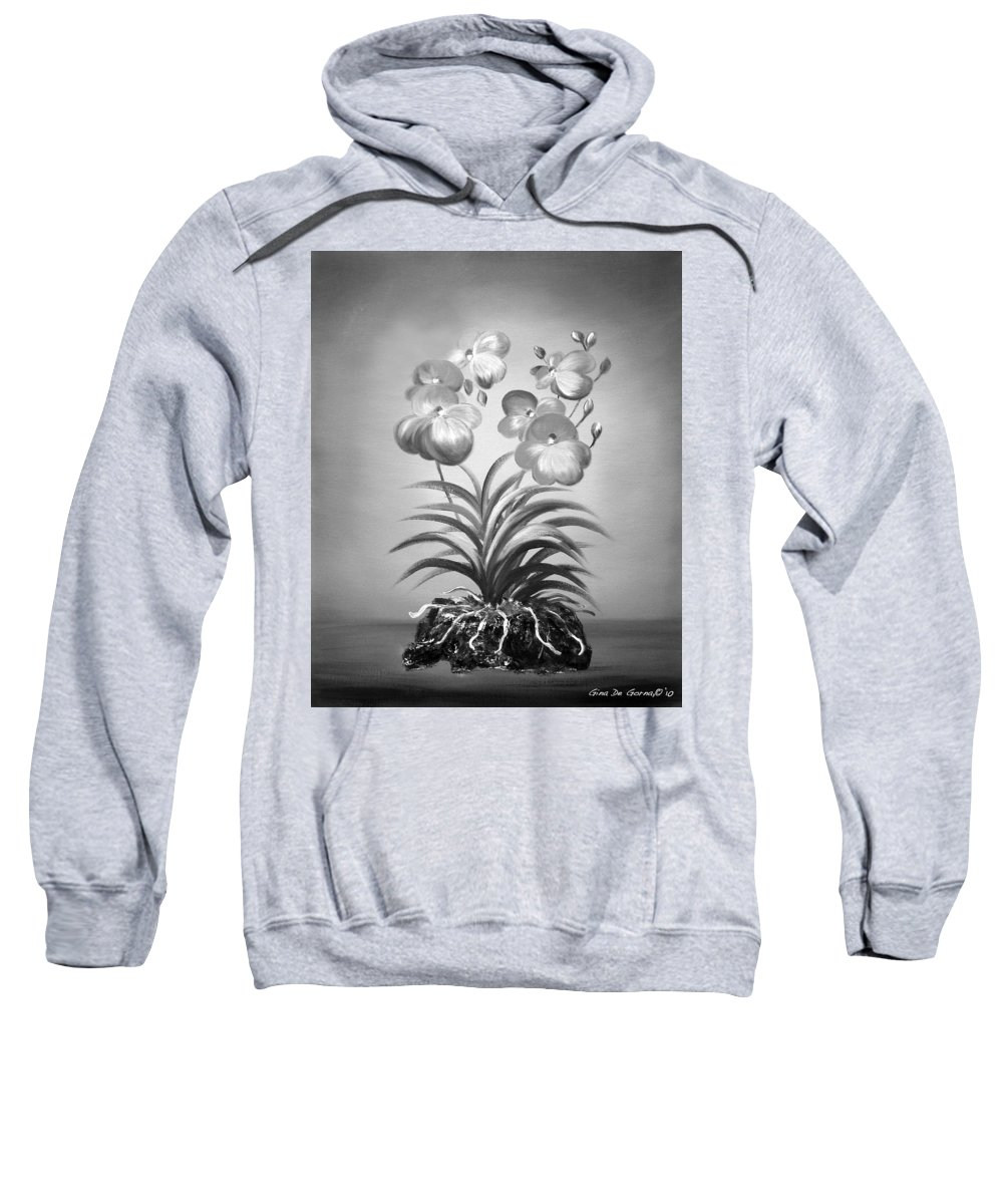 Black And White Sweatshirt featuring the painting Vanda Orchids In Black And White by Gina De Gorna