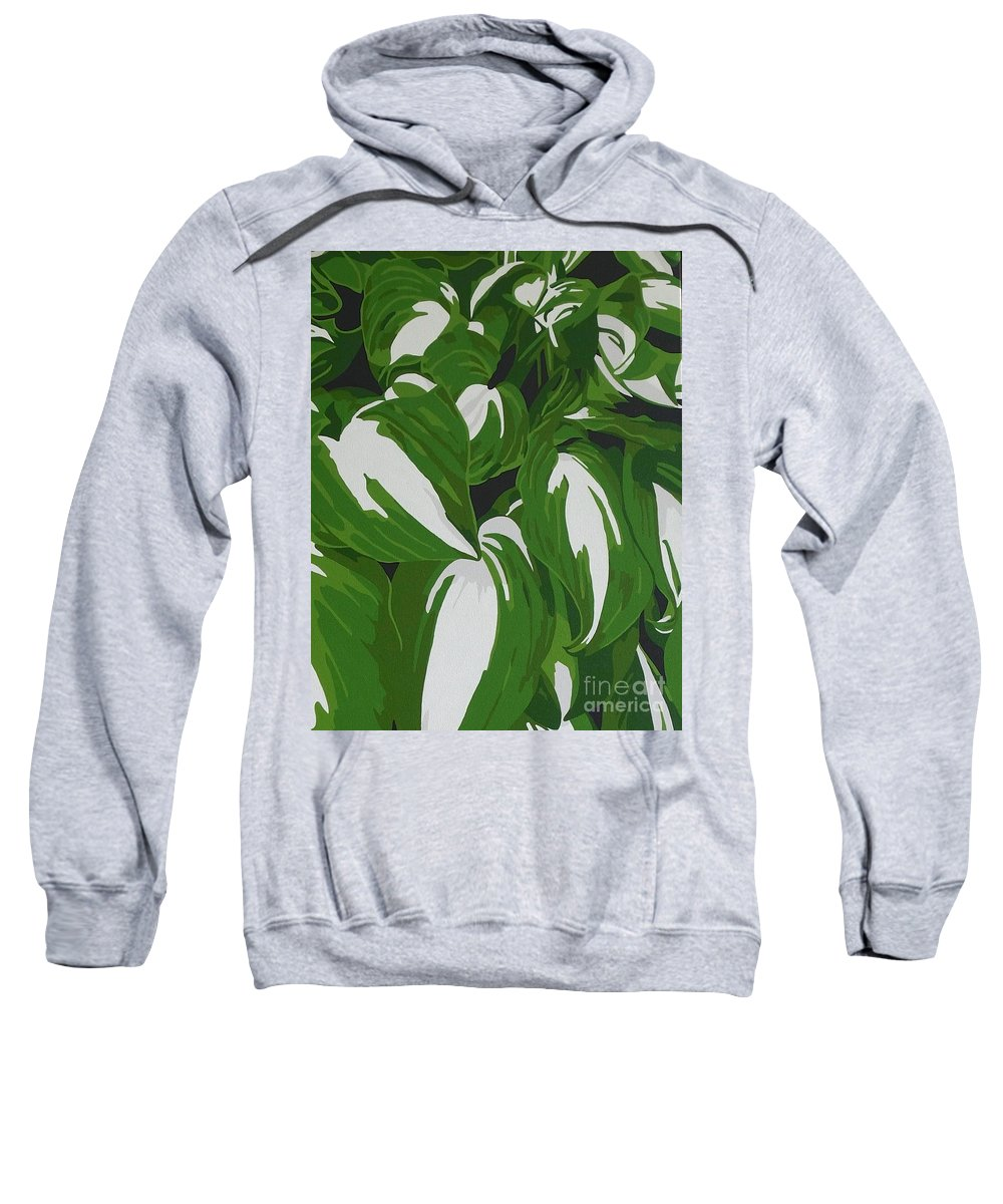 Acrylic Sweatshirt featuring the painting Variegated Hostas by Susan Porter