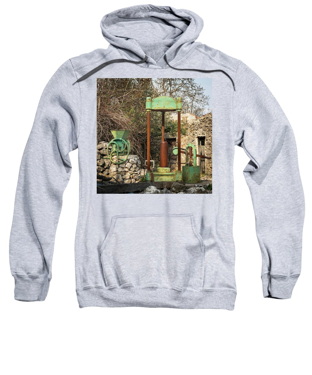 Old Sweatshirt featuring the photograph Various Old Rusty Vintage Agricultural Devices In Croatia by Stefan Rotter