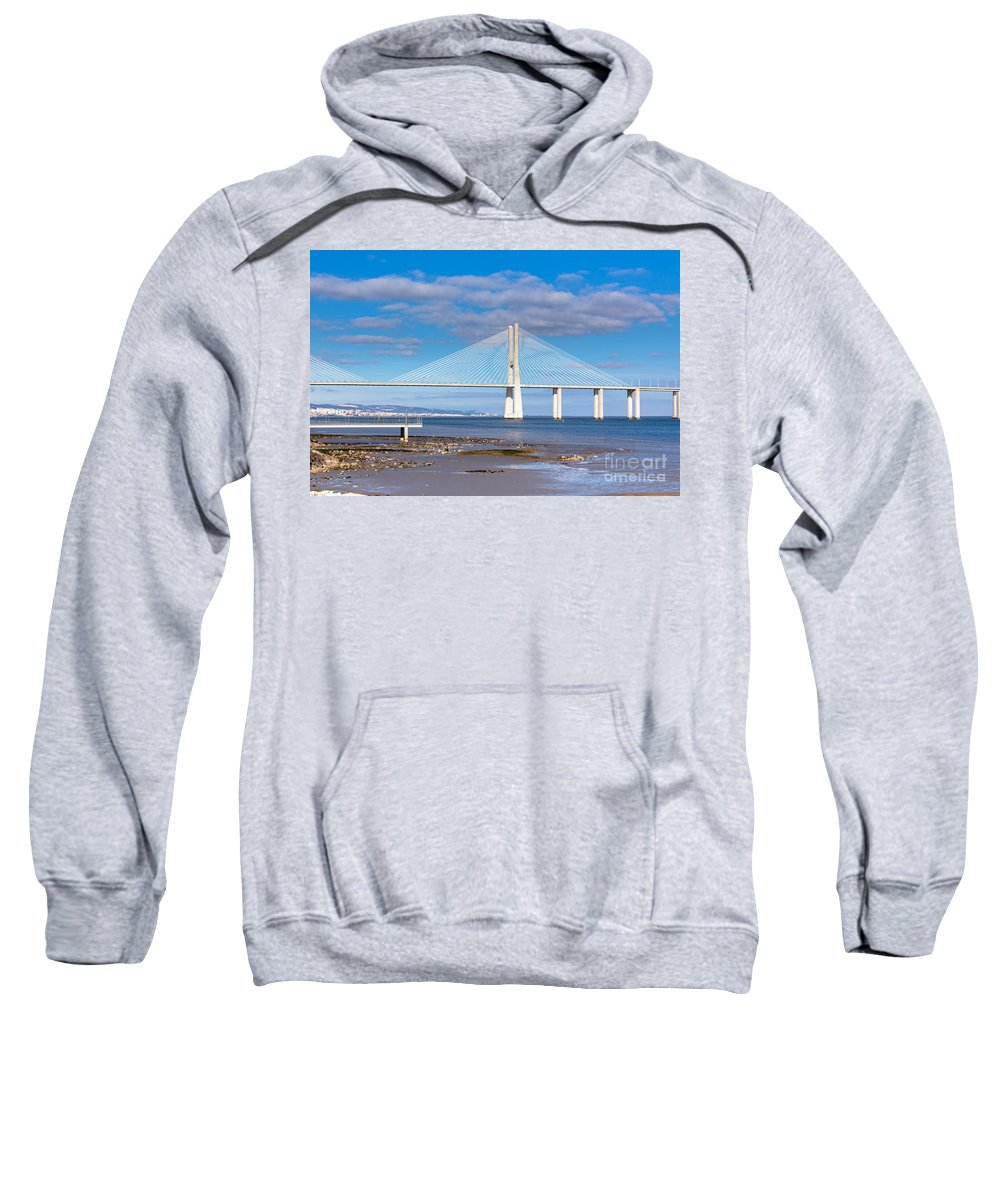 Contemporary Sweatshirt featuring the photograph Vasco Da Gama Bridge by Dvoevnore Photo