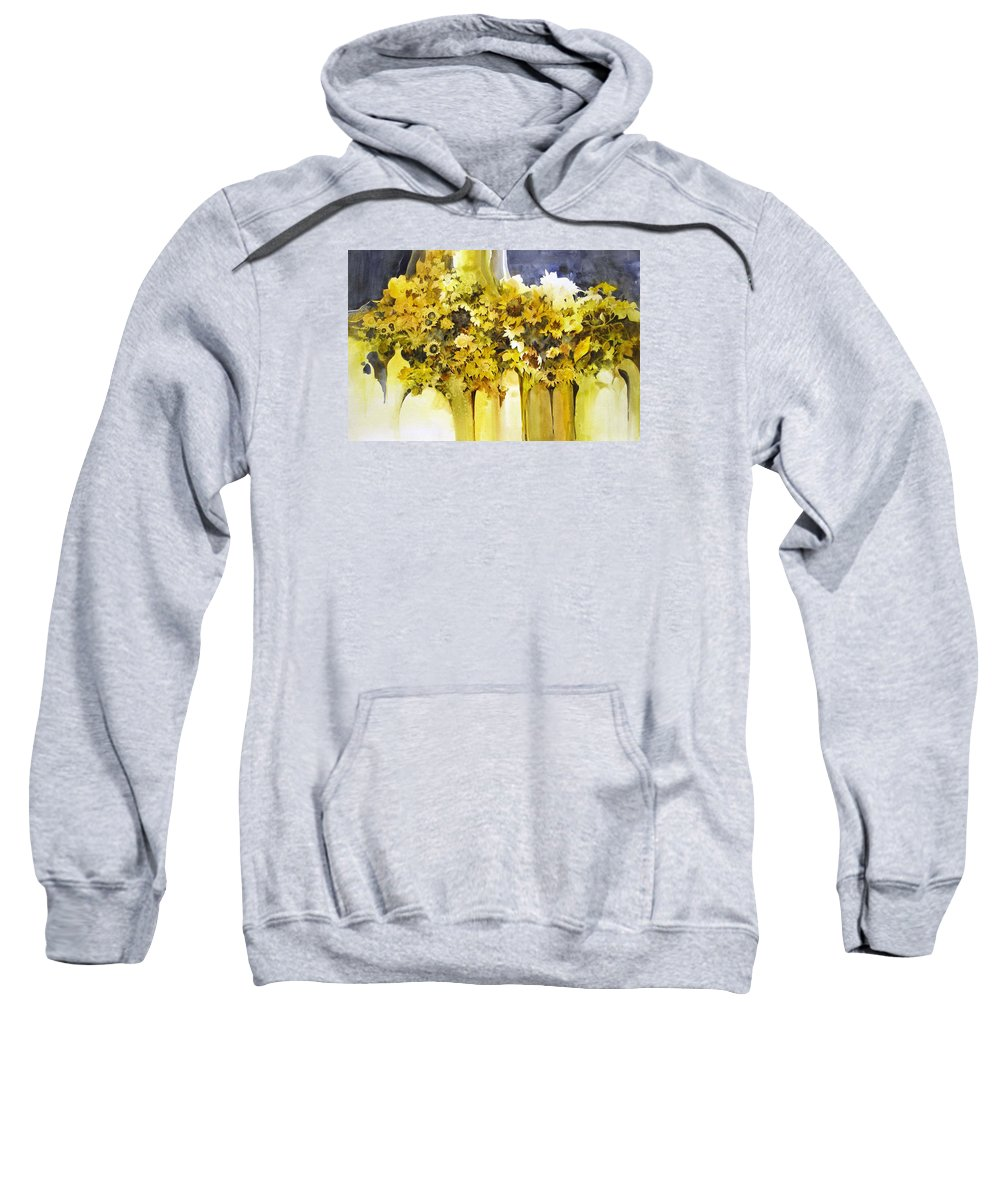 Yellow Flowers;sunflowers;vases;floral;contemporary Floral; Sweatshirt featuring the painting Vases Full of Blooms  by Lois Mountz