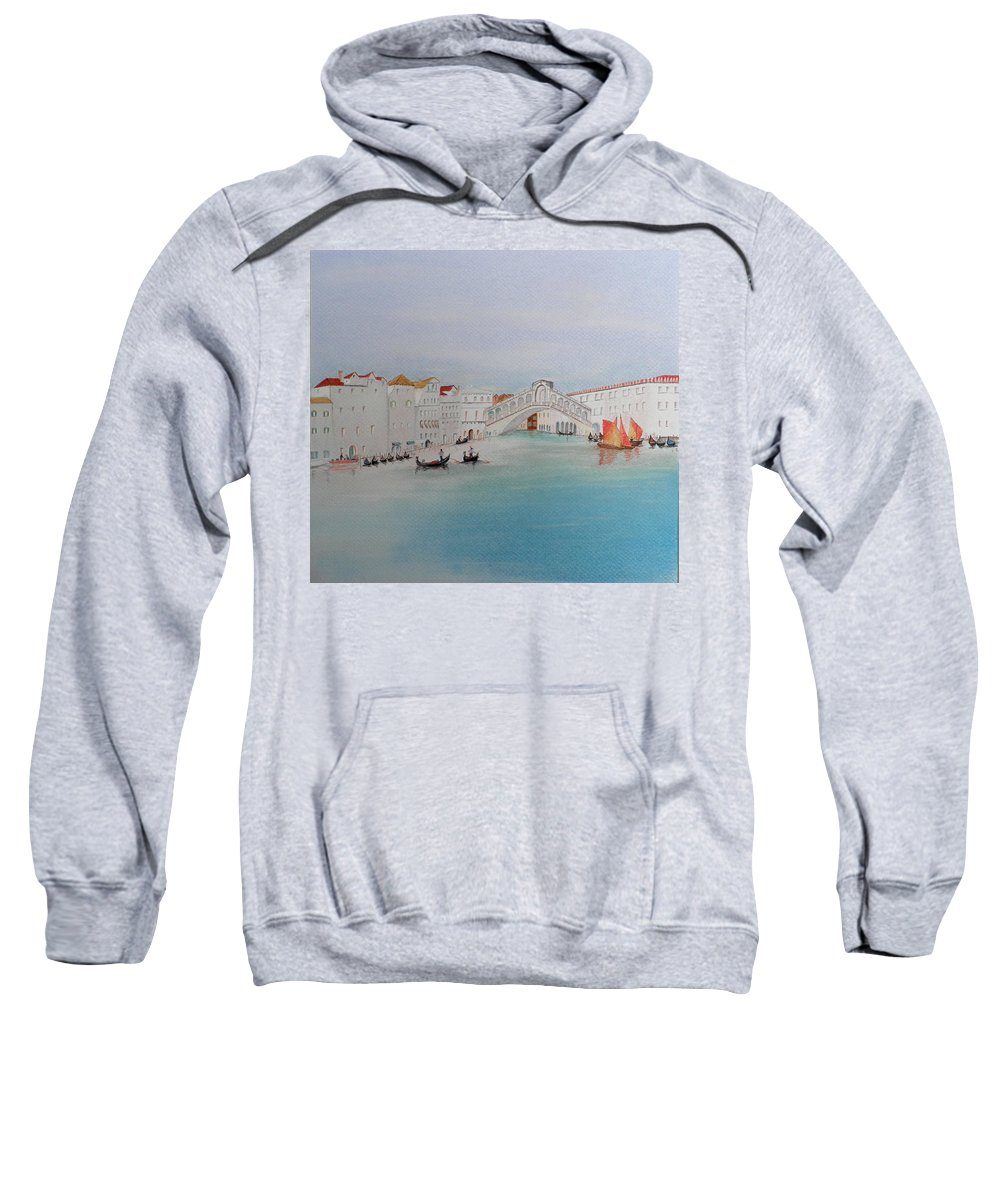 Venice Sweatshirt featuring the pastel Venezia Canal Of Old by Gordon Ogilvie