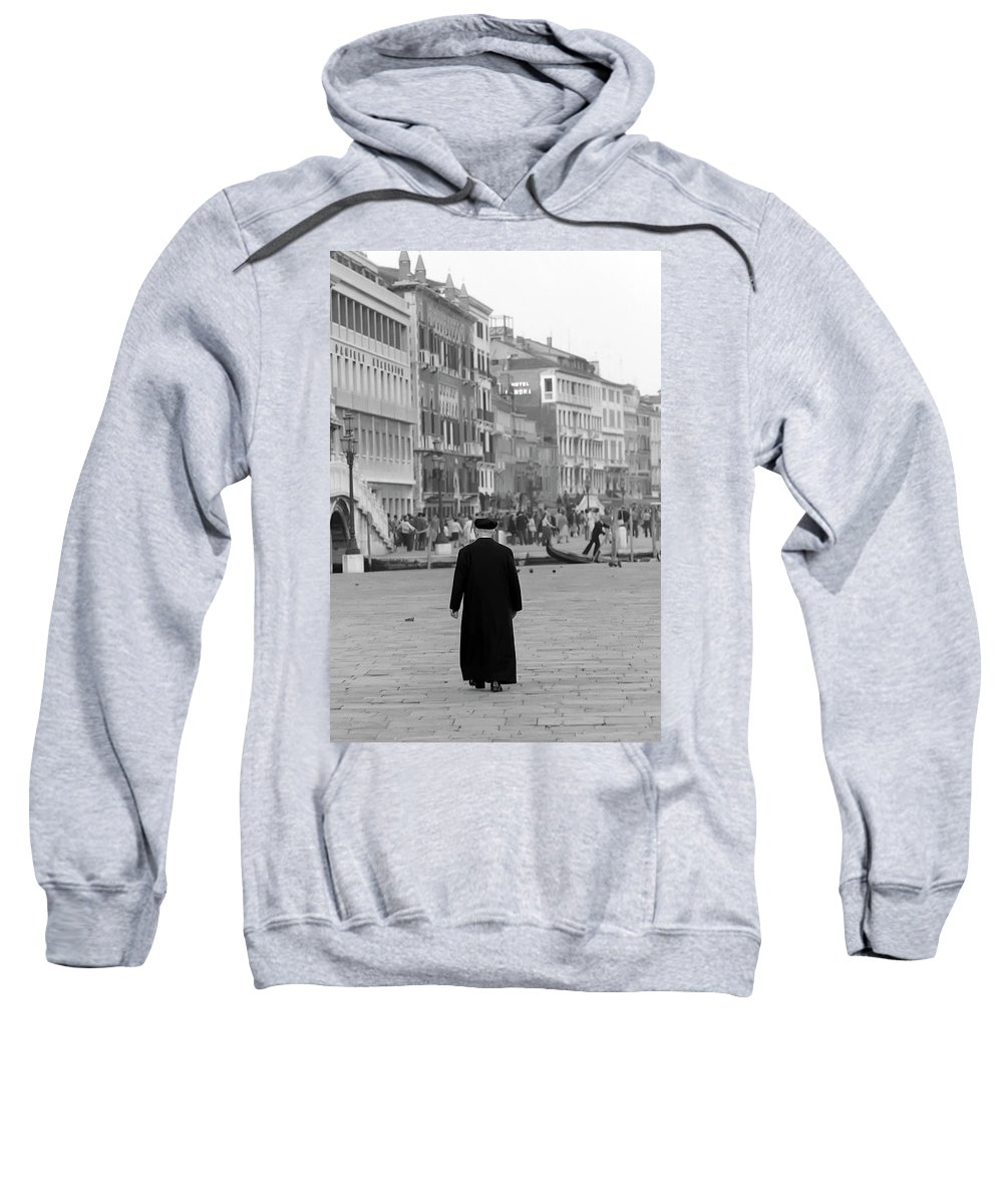 Venice Sweatshirt featuring the photograph Venetian Priest And Gondola by KG Thienemann
