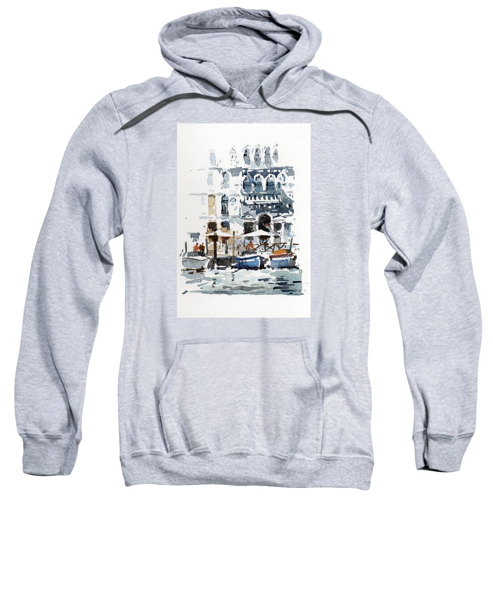 Venice Sweatshirt featuring the painting Venice Canal With Barges by Tony Belobrajdic