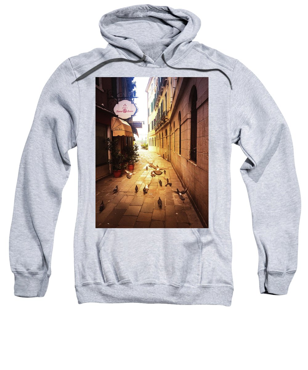 Pigeons Sweatshirt featuring the photograph Venice, Castello by Chris Patel