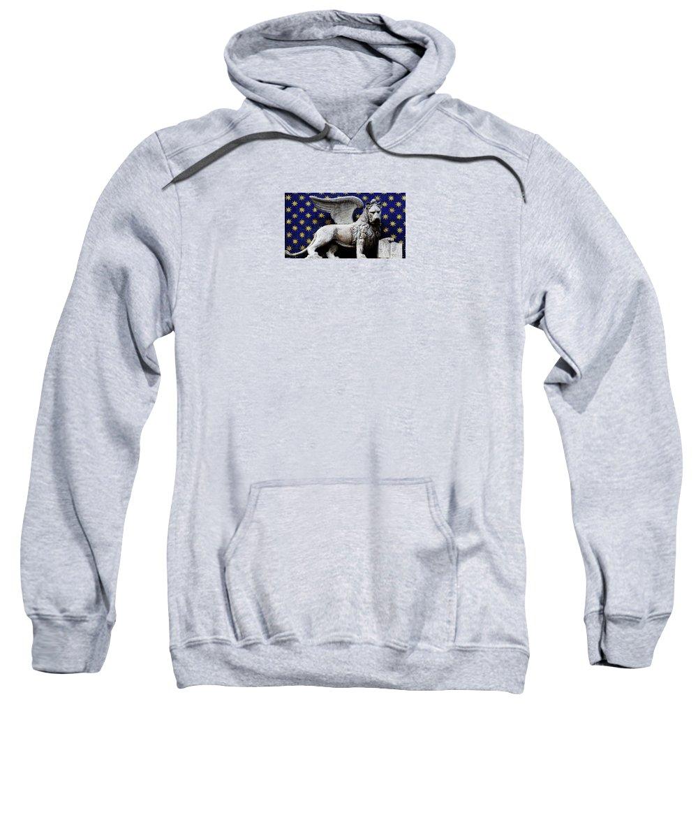 Venice Sweatshirt featuring the photograph Venice Lion by Elena Hansen