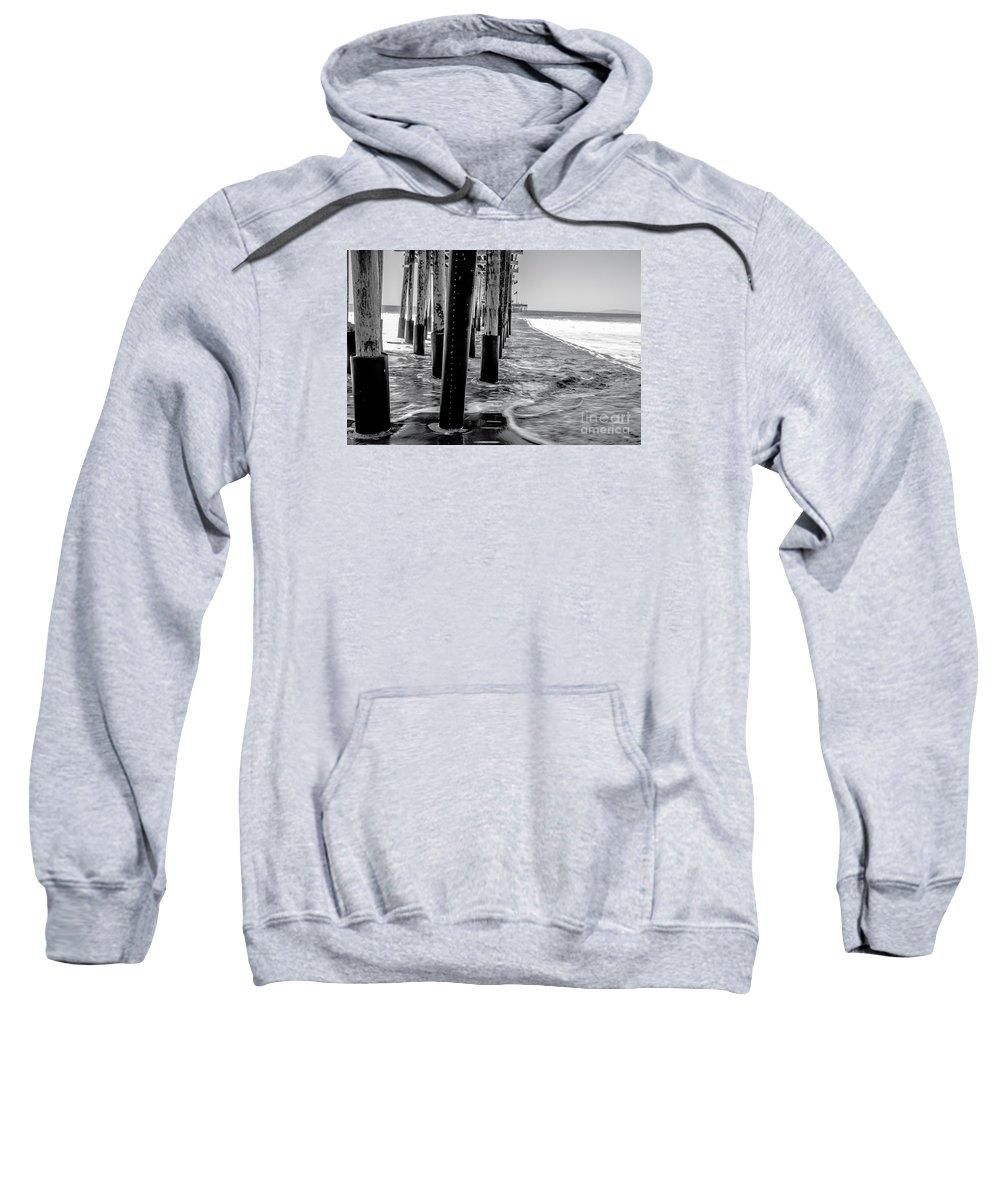 Pier Sweatshirt featuring the photograph Ventura Pier Bxw by Kevin Eckert Smith