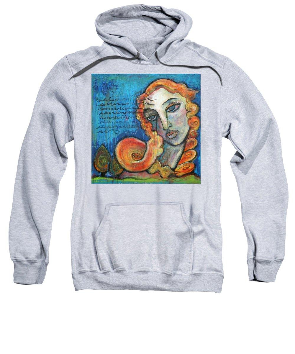 Venus Sweatshirt featuring the painting Venus Lets Go by Laurie Maves ART